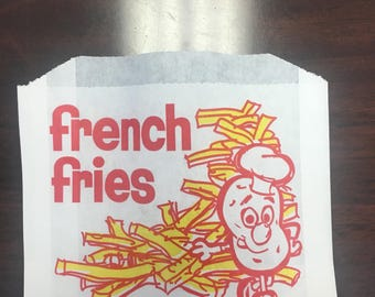 French Fry Printed Bags, 25/Pack, Made in the USA