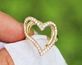 Heart Halo Diamond Curved Ring in Rose & Yellow Gold .61ctw
