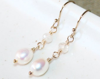 Elegant Mystic Quartz and Pearl Drop Earrings, Genuine Freshwater Pearl, 14K Gold-Filled, June Birthstone, Bridesmaid Gift, Dainty Earrings