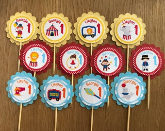 Circus Personalised Cupcake Toppers