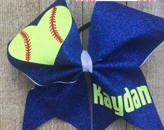 SOFTBALL Bow - Glitter - with name