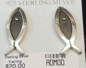 Sterling Silver christian fish earrings,  christian  jewelry design,Christian , Beautiful Design