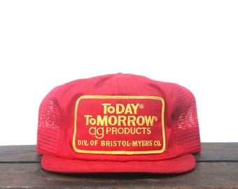 Vintage Today Tomorrow Ag Products Farming K Brand Trucker Hat Snapback Baseball Cap