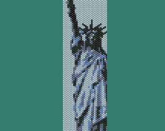Statue of Liberty, America, USA, United States, NYC, National Monument, Bead Peyote Pattern (even count peyote pattern for bracelet, cuff)