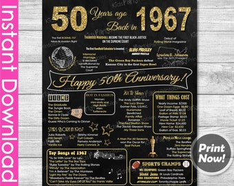 50th Anniversary Gifts INSTANT DOWNLOAD, 50th Wedding Anniversary Gifts Chalkboard Poster Sign Party PRINTABLE 50 Years of Marriage 1967