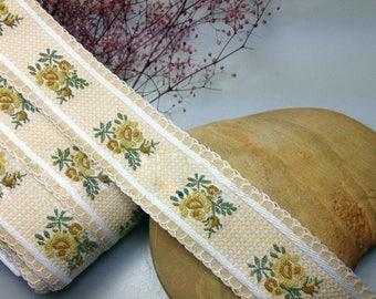 French Jacquard Ribbon/Cotton Trim/Roses Ribbon Trim/Ribbon/Yellow Ribbon/Shabby Chic Woven Ribbon/Cotton Ribbon Trim/Cotton Woven Trim
