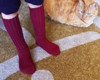 Babies/Children's knitted merino wool knee-high ribbed Socks/stockings/gray