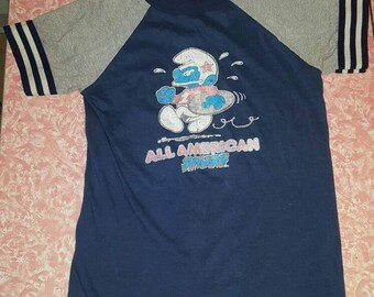 The COOLEST Vintage Smurf Ringer T-shirt Tee All American Smurf XS Small 1970s