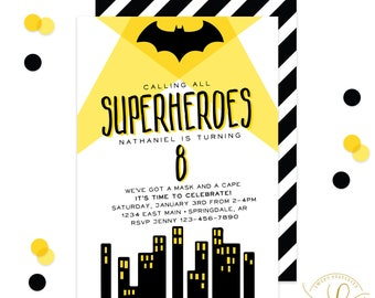 Bat Hero Invitation, Superhero Invitation, Superhero Party, Bat Party, Boy Birthday Party, Black and White, Yellow, Printable Invitation