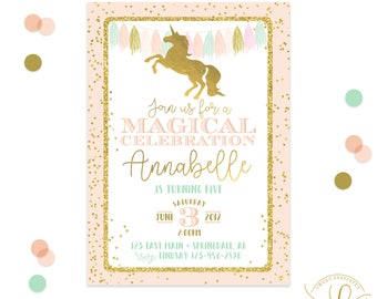 Unicorn Invitation | Unicorn Party | Fairytale Invitation | Fairytale Party | Rainbow Invitation | Rainbow Party | Unicorn Printable Invite