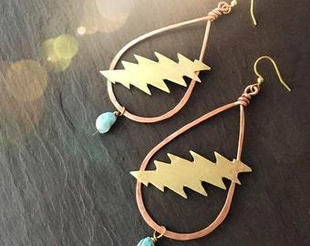 Grateful Dead earrings // 13 point lightening bolt / handmade jewelry / Larimar blue raw crystal / Furthur festival hippie gift