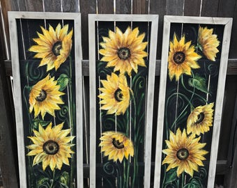 Set of 3 sunflowers, huge  sunflowers
