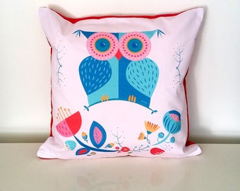 Owl nursery cushion, Original designer printed cushion, owl throw pillow, Scandinavian owl cushion, Baby shower gift, INSERT INCLUDED