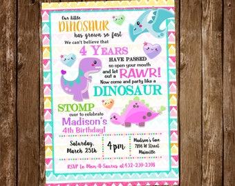 Dinosaur Birthday Party Invitation, Girl, Pink, Dinosaur Party, Invitation - Digital or Printed