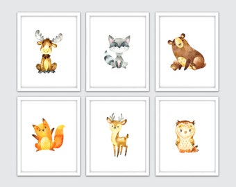 Watercolor Woodland Animal Nursery Art, Woodland Print Set, Forest Print Nursery, Forest Art Nursery, Woodland Nursery, Baby Woodland Decor