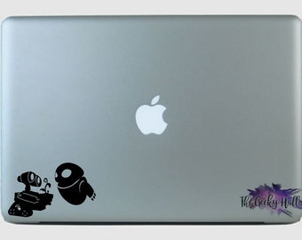 Walle and Eve Date - Wall-e - Disney - Robots - Couples - Valentine's Day - Laptop - Macbook - Car Window - Vinyl - Decal - Sticker