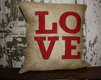 Love Valentine Pillow Cover, Valentine Throw Pillow, 16x16 Burlap or Canvas