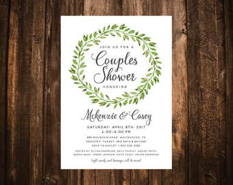 Greenery Wreath Couples Shower Invitation; Foliage; Green; Printable or set of 10