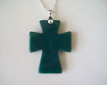 """Green Agate Cross Pendant with Chain 2-1/2"""" long"""