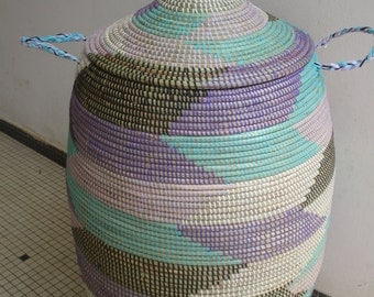 Pastells and Black, Herringbone, Chevron, XL Basket, Laundry, Hamper, Purple an Lilac, Turquoise