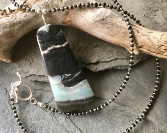 Amazonite and Black Spinel Necklace