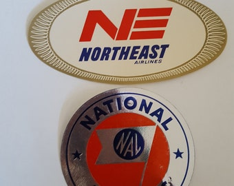 Vintage late 1950's gummed airline luggage stickers, NorthEast Airlines, National Airlines