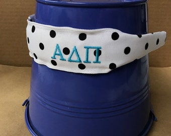 Alpha Delta Pi White Dot Headband