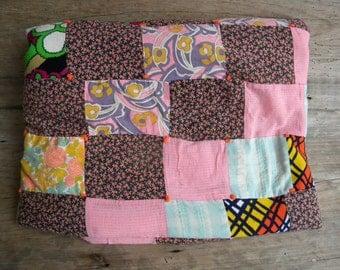 Vintage Patchwork Quilt / Bright Color Blocks / Retro Handmade Throw / Cabin Quilt / Antique Quilt / Hand Tied Block Quilt / 58 x 80