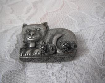 Vintage Pewter Cat Brooch Earrings Trinket Box Kitten Kittens Crazy Cat Lady Set Grey