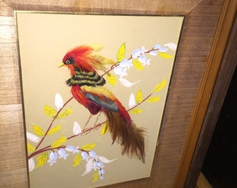 Vntg BIRD FEATHERS & Paint Picture Artwork
