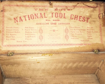 Antq Child's Boys Tool Box Chest  BOYS' NATIONAL TOOL Chest No. 800.