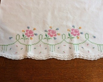Embroidered vintage pillowcase