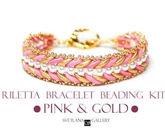 Bracelet Beading Kit Riletta Coral Pink Gold Version