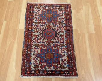 Persian Rug 2x3 White Wool Small Oriental Rug 2' x 3' 1 Ivory Karaja