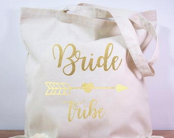 Team Bride Bridesmaid Gift Tote Bag Bachelorette Party Gift Bag Custom Gift Bag Tribe Bag Will You Be My Bridesmaid Hens Gold, Silver, Arrow
