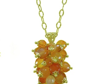 Pendant Necklace, 925 silver and carnelian. Woman gift idea