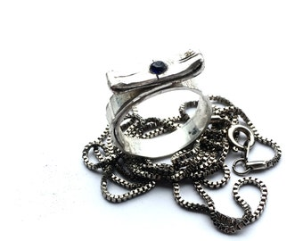 FREE US SHIPPING - Tuareg 3 - Sterling Silver Ring - for Women or Men - 4mm Sapphire - Size 10 us - 8mm Wide - Ancient African Style