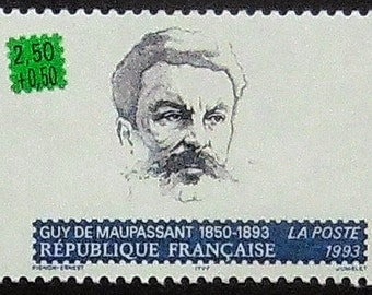 Guy De Maupassant 1850-1893 French writer -Handmade Framed Postage Stamp Art 21039AM
