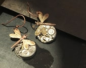 DRAGONFLY Steampunk Earrings, artistic steampunk jewelry -The Victorian Magpie