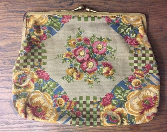 Floral Garden 1920's Purse with Bright Floral Needlework