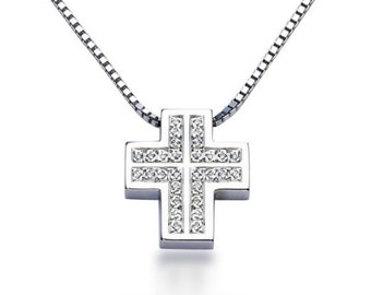 Cross Diamond Pendant 0,15ct 40cm Venetian Chain