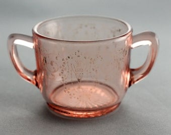 Pink Glass Sugar Bowl Etched with Silver Overlay