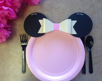 Minnie mouse decorations, minnie mouse party, minnie mouse plates, minnie mouse ears, girls birthday party,