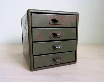 Vintage Green Metal Box,Industrial Metal Box,Industrial Salvage,Metal Storage Box,Antique Metal Box,Metal Box with Drawers,Small Metal Chest