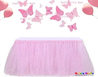 Sweet Girlie Bash Shimmer Shiny Tulle Table Skirt Table TuTu for Girl's Birthday Pink Party Decor PTS07001