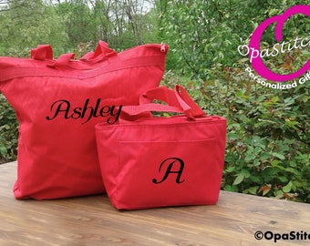 Tote and Lunch bag Personalized combo, red,lunch box insulated,monogrammed,zipper closure teacher gift idea kids back to school
