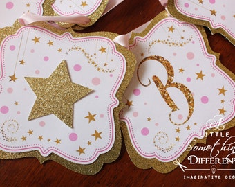 Pink and Gold Star Banner / Pink and Gold Banner / Twinkle Twinkle Little Star Banner / Pink and Gold Baby Shower Banner