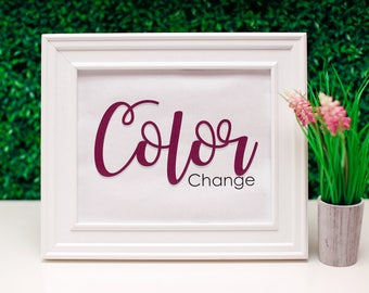 Color Change. Wedding Printable