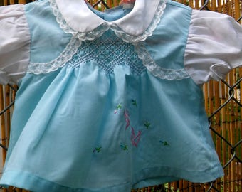 blue smocked newborn baby dress