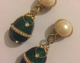 Vintage Faberge Style Earrings, Enamel Jewelled Egg Clip On Earrings